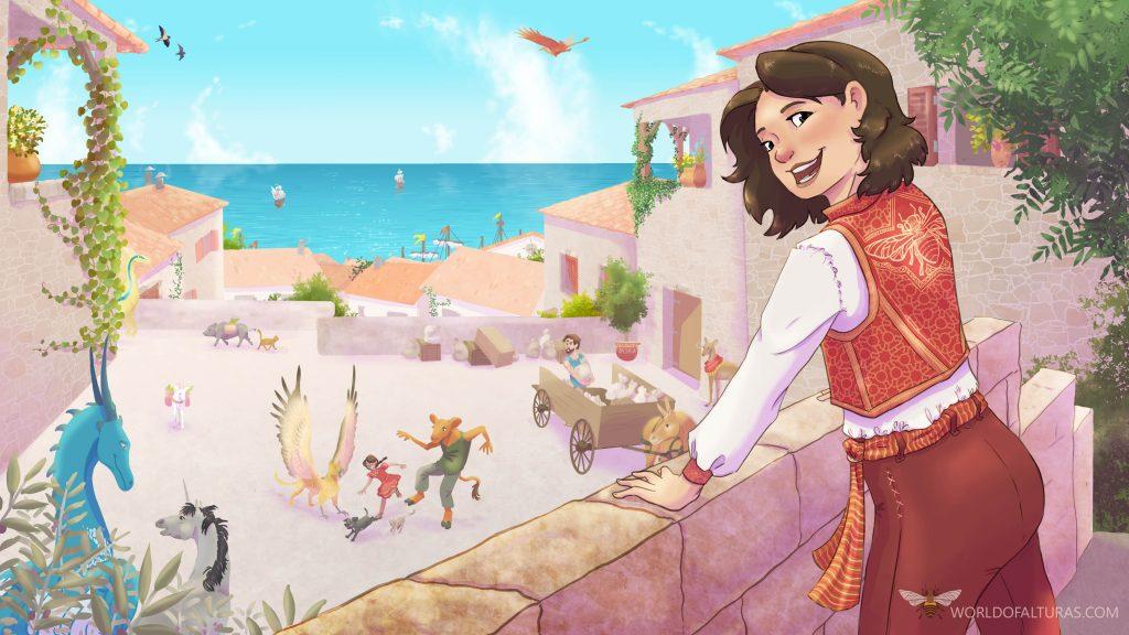The protagonist, Ireen, overlooking her hometown of Borrel.